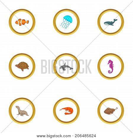 Marine fauna icons set. Cartoon style set of 9 marine fauna vector icons for web design