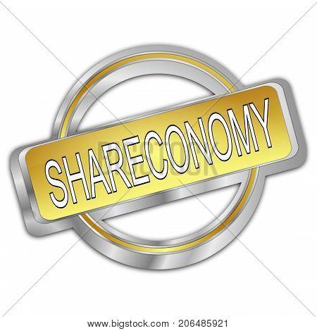 silver golden Shareconomy Button - 3D illustration