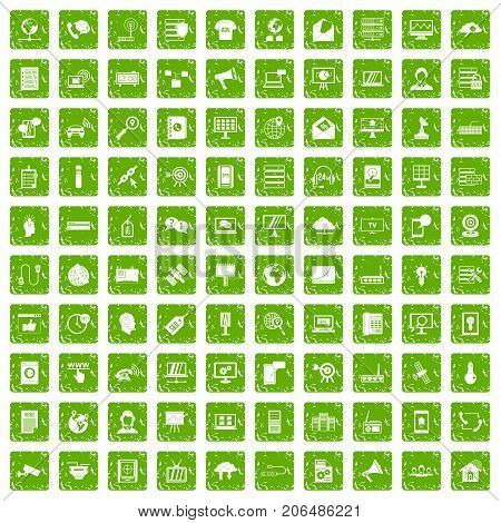 100 telecommunication icons set in grunge style green color isolated on white background vector illustration