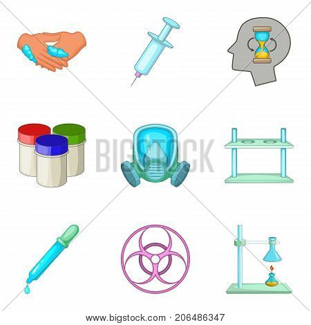 Drug icons set. Cartoon set of 9 drug vector icons for web isolated on white background