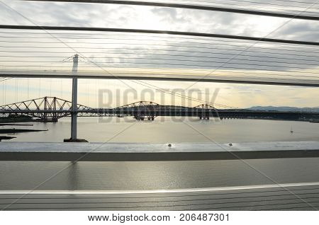 A view of the Forth bridges and estuary