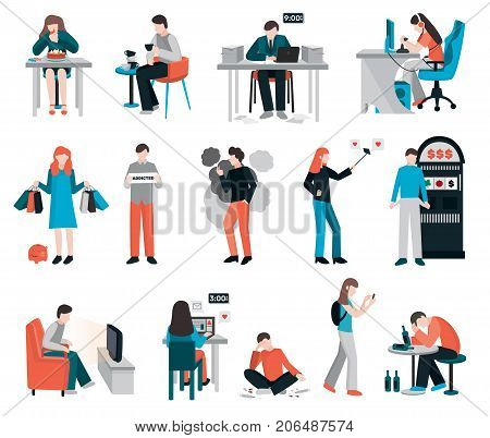 Addictions people flat images collection of isolated human characters their pernicious habits addictions and substance abuse vector illustration