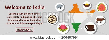 Welcome to India banner horizontal concept. Flat illustration of welcome to India banner horizontal vector concept for web design