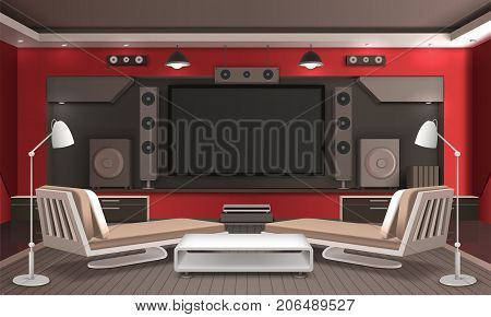 Home theater interior 3d design with audio video system, table and couches on grey floor vector illustration