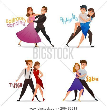 Dancing pairs 4 retro cartoon icons set with tango salsa and ballroom waltz steps isolated vector illustration