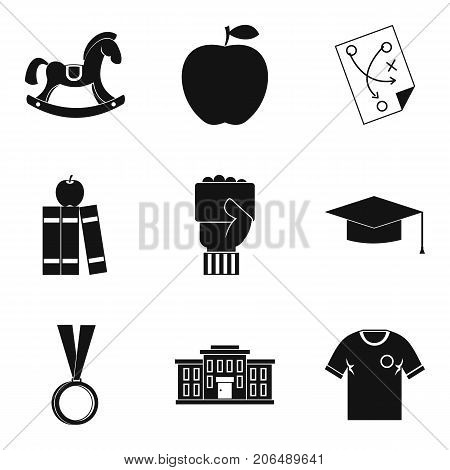 Higher school icons set. Simple set of 9 higher school vector icons for web isolated on white background