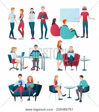 Creative team coworking people gradient flat human characters set with isolated images of young office workers vector illustration