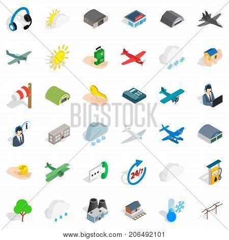 Flight icons set. Isometric style of 36 flight vector icons for web isolated on white background