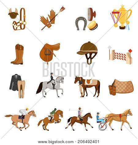 Equestrian sport set of flat icons with trotters, horse gear, care objects, riders, trophies isolated vector illustration