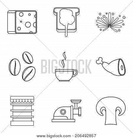 Sandwich topping icons set. Outline set of 9 sandwich topping vector icons for web isolated on white background