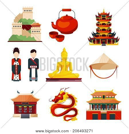 Traditional chinese cultural objects in vector style. China traditional oriental elements pagoda and teapot illustration