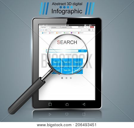 Smart tablet, loupe, search infographic Vector eps 10