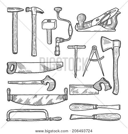 Tools in carpentry workshop. Vector hand drawn illustration. Set of tools for carpentry, equipment hammer and saw
