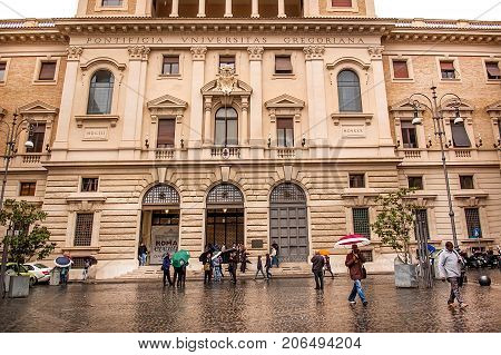 Rome Italy - October 31 2012: The Pontifical Gregorian University in Rome founded in 1551 by St. Ignatius of Loyola and St. Francis Borgia. It is an institution of higher learning for the Roman Catholic clergy.