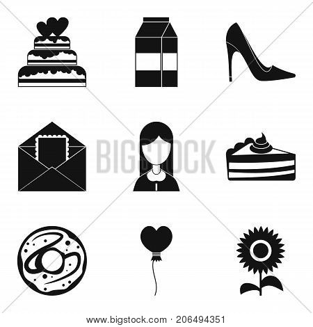 Romantic walk icons set. Simple set of 9 romantic walk vector icons for web isolated on white background