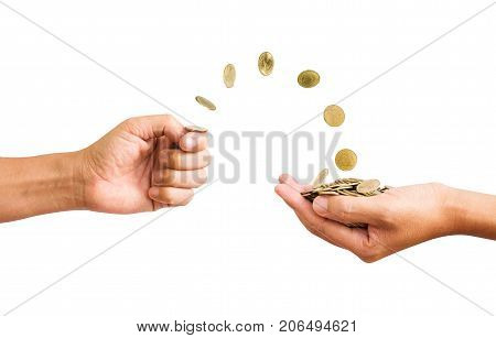 Hand Flip A Coins To Palm Of Hands