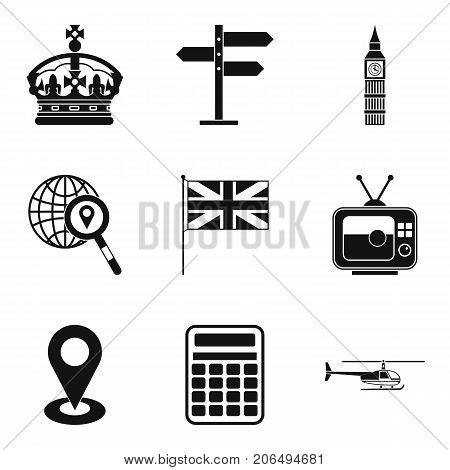 Moving to England icons set. Simple set of 9 moving to england vector icons for web isolated on white background