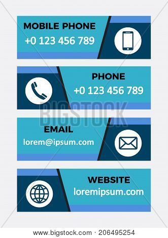 Contacts banners. Set of vector design elements