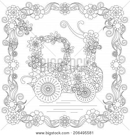 Anti stress abstract tractor, butterflies, square flowering frame hand drawn monochrome vector illustration