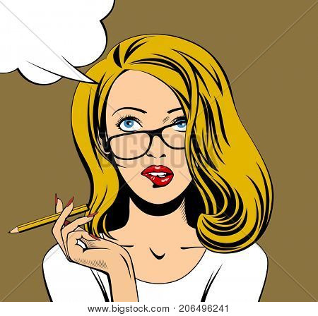 Blonde business woman in glasses looking up and biting her lips with a pencil in hand. Drawing in pop art style