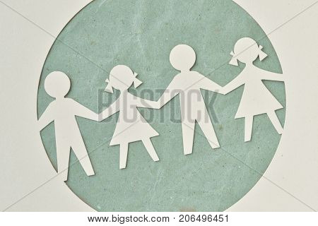 Paper silhouette cut of children chain - Ecology and social responsibility concept