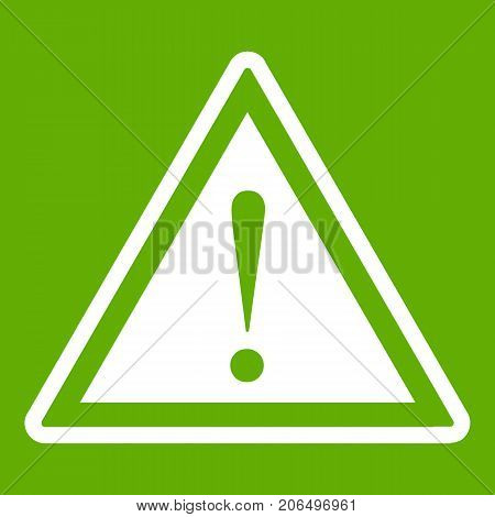Hazard warning attention sign with exclamation mark icon white isolated on green background. Vector illustration