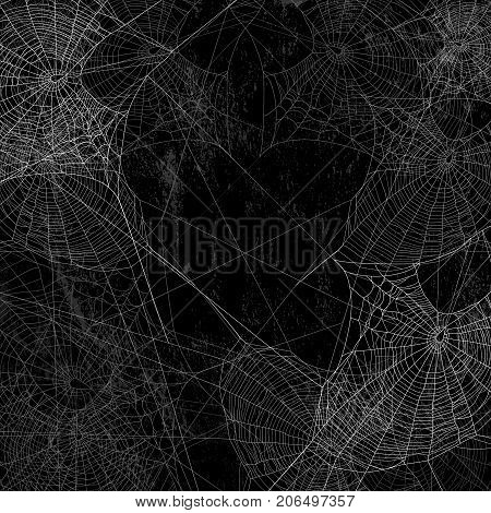 black wall covered with spider web spooky background - halloween theme vector design