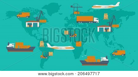 Logistic concept flat banner production process from factory to the shop. Top view world map with warehouse ship truck aircraft and car. Wide vector illustration for info graphic web business banner presentations.