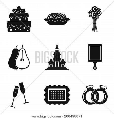 Solemnize icons set. Simple set of 9 solemnize vector icons for web isolated on white background