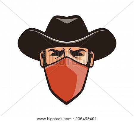 Angry thug in mask. Cowboy, robber, bandit in hat. Cartoon vector illustration isolated on white background