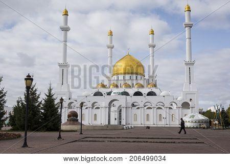 Astana, Kazakhstan - September 13, 2017: Exterior Of The Nur Astana Mosque In Astana, Kazakhstan. Th