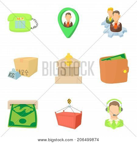 Payout icons set. Cartoon set of 9 payout vector icons for web isolated on white background