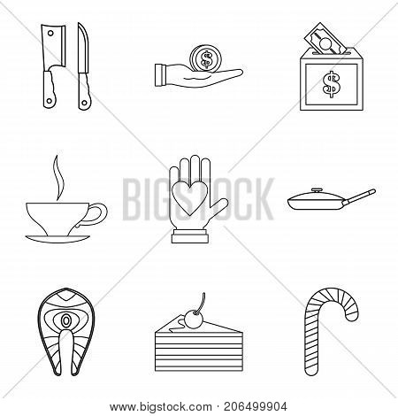 Tucker icons set. Outline set of 9 tucker vector icons for web isolated on white background