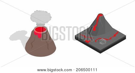 Volcano icon set. Isometric set of volcano vector icons for web isolated on white background