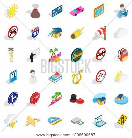 Sinking icons set. Isometric style of 36 sinking vector icons for web isolated on white background