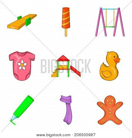 Childlike icons set. Cartoon set of 9 childlike vector icons for web isolated on white background