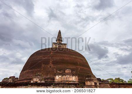 Rankoth Vehera or Golden Pinnacle Stupa in Polonnaruwa ruins. Unesco world heritage on Sri Lanka.