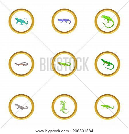 Reptile icons set. Cartoon style set of 9 reptile vector icons for web design