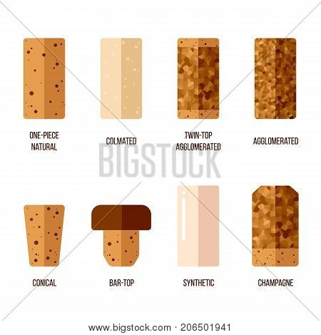 Vector cork stoppers different types and production technologies. Flat style.