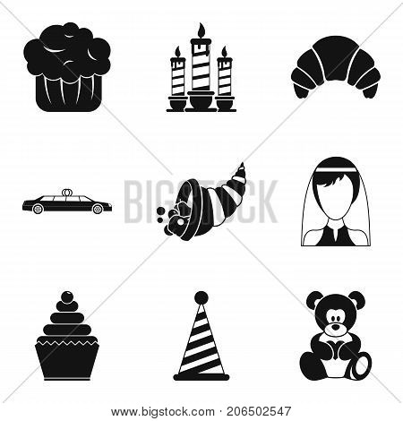 Romantic dinner icons set. Simple set of 9 romantic dinner vector icons for web isolated on white background