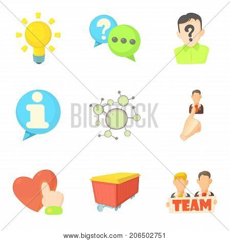 Teammate icons set. Cartoon set of 9 teammate vector icons for web isolated on white background