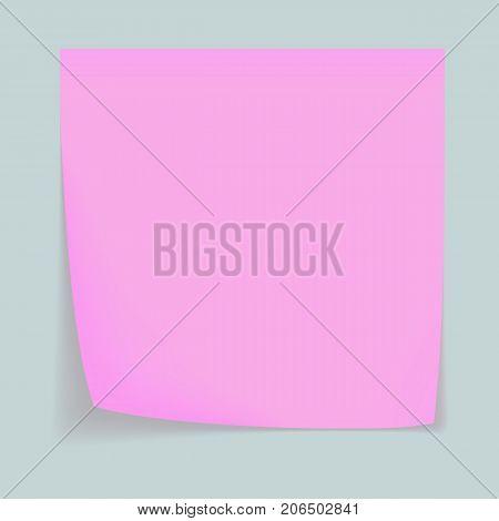 Pink memo stick concept background. Realistic illustration of pink memo stick vector concept background for web design