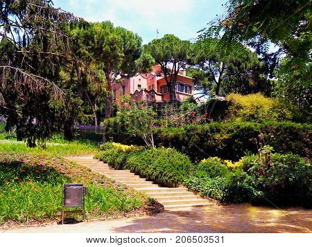 Spain Catalonia city of Barcelona Park Guell village in the park Guell Antonio Gaudi