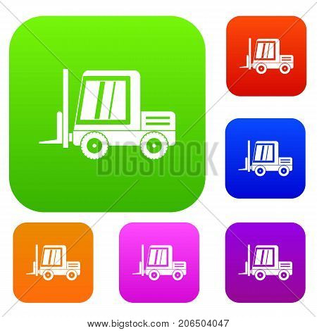 Stacker loader set icon color in flat style isolated on white. Collection sings vector illustration