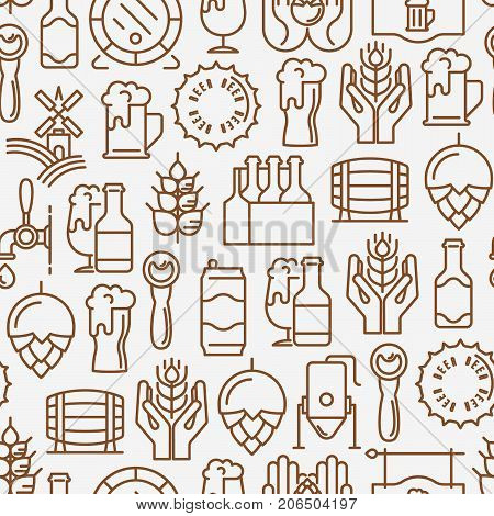Beer seamless pattern with thin line icons related to brewery and Beer October Festival. Modern vector illustration for banner, web page, print media.