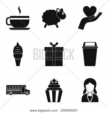Spoiled brat icons set. Simple set of 9 spoiled brat vector icons for web isolated on white background