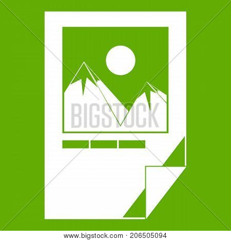 Tested ink paper with printer marks icon white isolated on green background. Vector illustration
