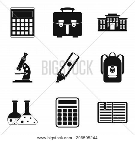 Experiment report icons set. Simple set of 9 experiment report vector icons for web isolated on white background