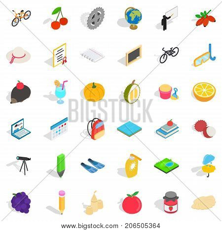 Childhood icons set. Isometric style of 36 childhood vector icons for web isolated on white background