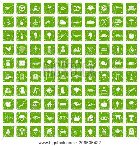 100 tree icons set in grunge style green color isolated on white background vector illustration